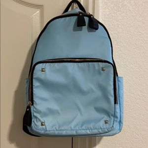light blue backpack
